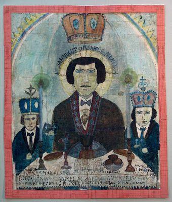 Nikifor Autoportret potrójny, akwarela 1920-1925