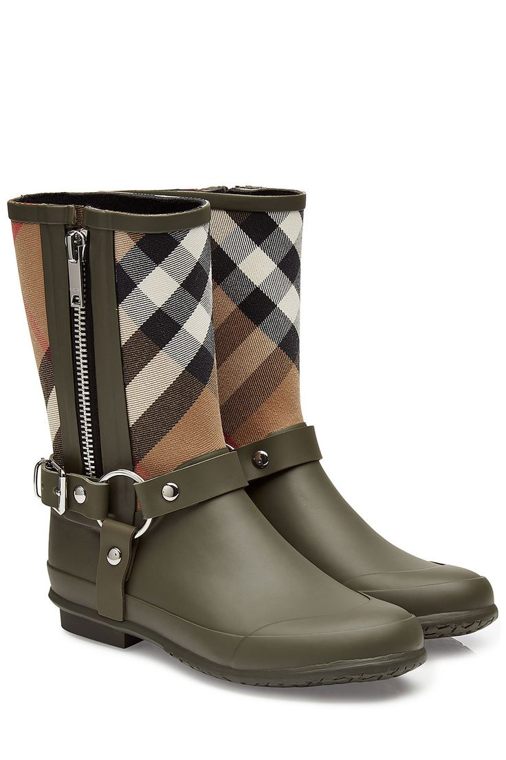 Burberry Rubber Rain Boots with Checked Fabric