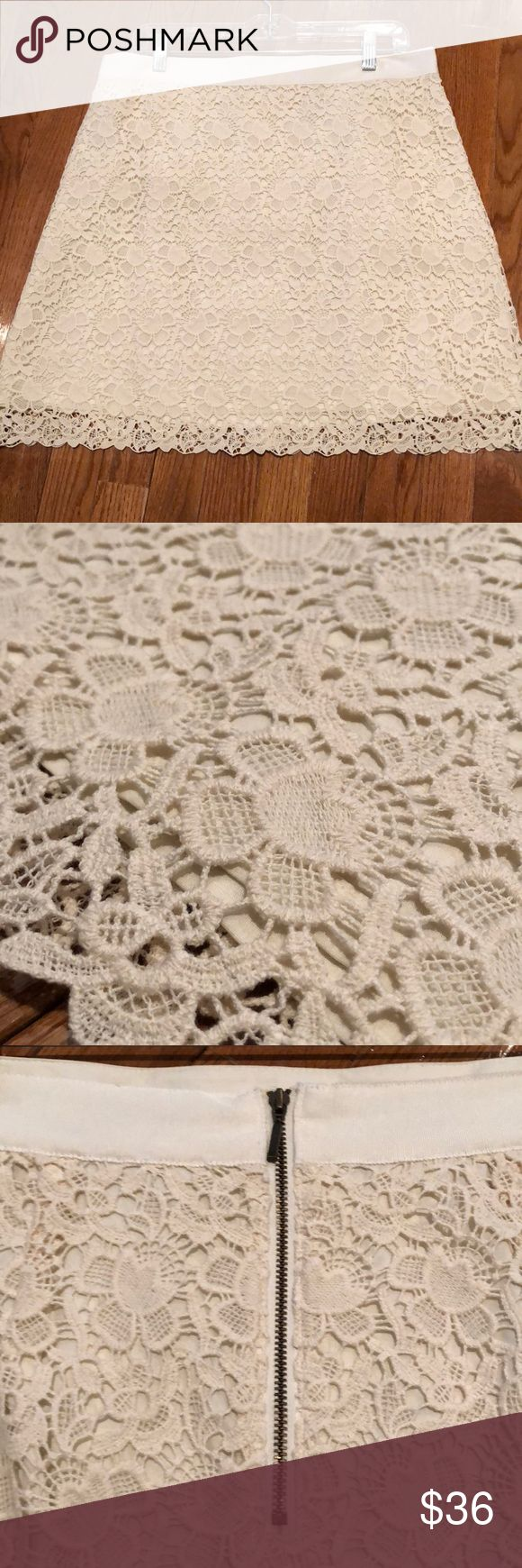 NWT LOFT Gorgeous Cream Lace Skirt 12 NWT Ann Taylor LOFT Gorgeous Cream Lace Skirt - Size 12 and perfect for upcoming spring/summer or cruise - fully lined!  Comes from a very clean and smoke free home.  I love to bundle! LOFT Skirts A-Line or Full
