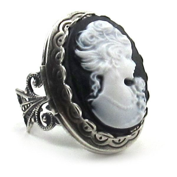 Elegant Gothic Lolita Layered Cameo Locket Ring with Filigree Band in... (£14) ❤ liked on Polyvore featuring jewelry, rings, filigree band ring, goth jewelry, gothic jewelry, vintage cameo ring and filigree locket