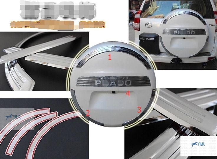 57.20$  Watch now - http://ali4cn.shopchina.info/1/go.php?t=32362401670 - More fashion ! For Toyota Land Cruiser Prado FJ150 2014 2015 2016 Rear Spare Tire Cover Sticker 4 pcs / set  #SHOPPING