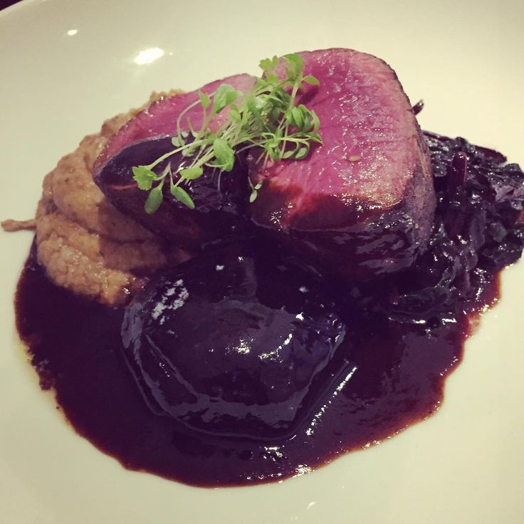 Rare pan roasted venison w/ balsamic beetroot, smoked aubergine purée & red chard .. on our specials menu this weekend #eatateno