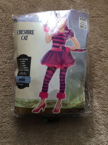 Party-City-Cheshire-Cat-Halloween-Costume-Kids-size-M-big-Kids-No-Wig add a cage skirt w/ wrap around tail