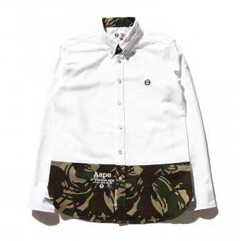 AAPE New Camo Stitching Long Sleeve Button Up Shirt (White) #aape #streetwear #streetfashion #fashion #urbanwear #longsleeves #buttonupshirt