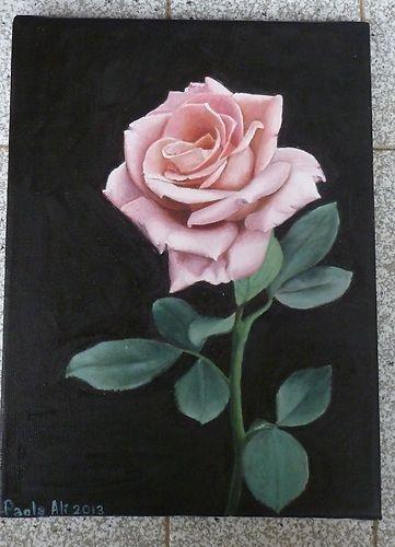 "INTERNATIONAL ARTIST PAOLA ALì ART ""BEAUTIFUL ROSE"" 12X9,5 OIL ON CANVAS FLOWER"