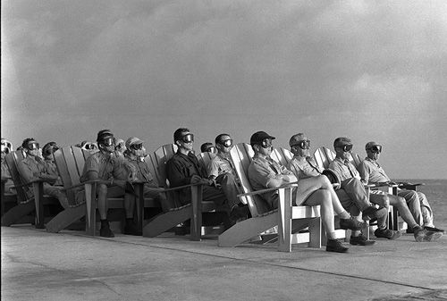 Operation Greenhouse, Eenwetak Atoll, 1951: VIP Observers are lit up by the light of an atomic bomb.