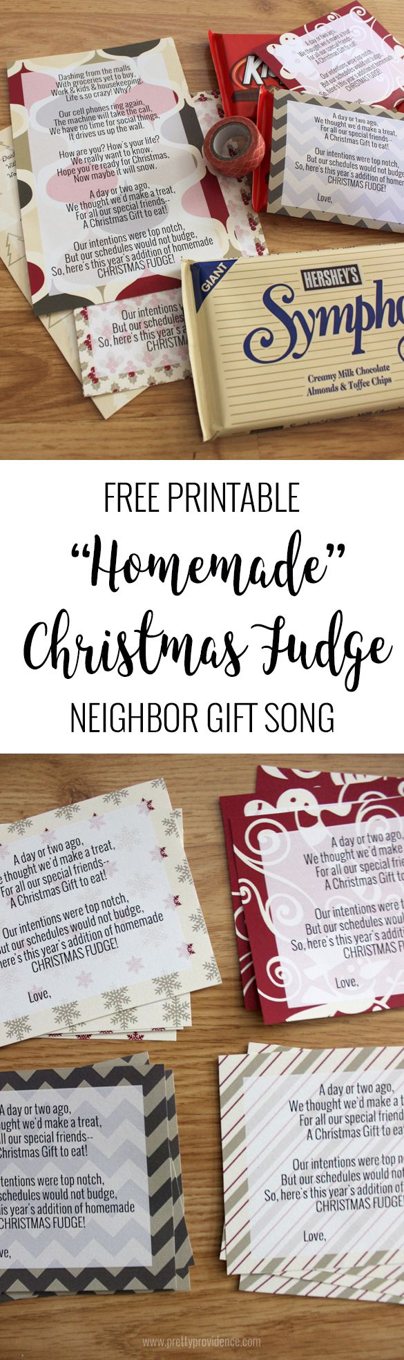 "I am obsessed with this ""homemade"" Christmas fudge neighbor gift idea! A perfect, fun way for people to acknowledge their friends and loved ones without going crazy overboard!"