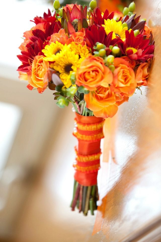 Wedding Flowers Red And Yellow : Red orange and yellow wedding bouquet