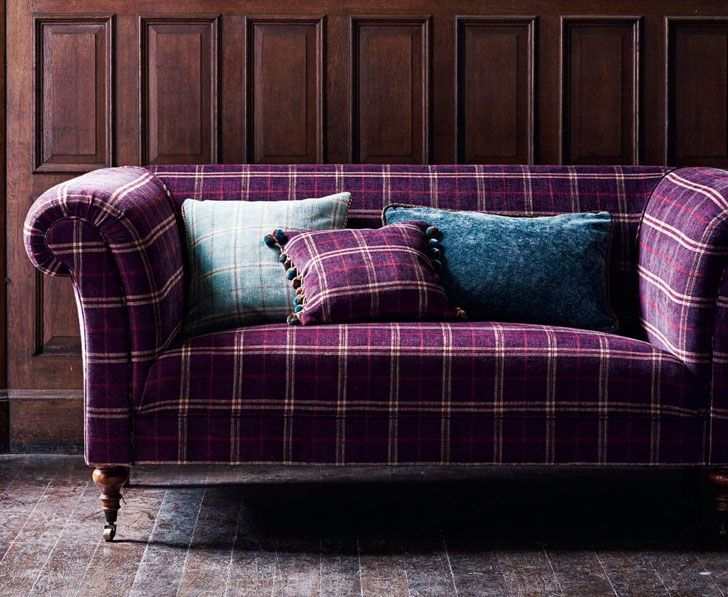 Violet sofa (see more) #checkered #print #sofa #english #mulberry #home #catalogue #furniture #England