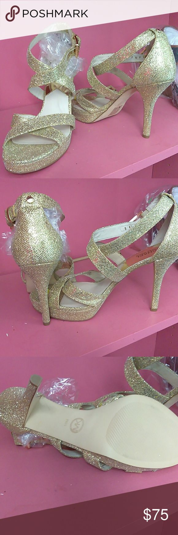 Gold evening shoes Shiny gold high heels Micheal kors  Shoes Heels