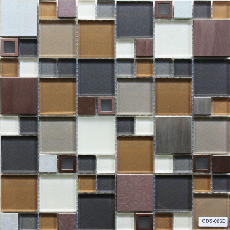 Stainless Glass Tile Modern Copper Blend Stainless Steel
