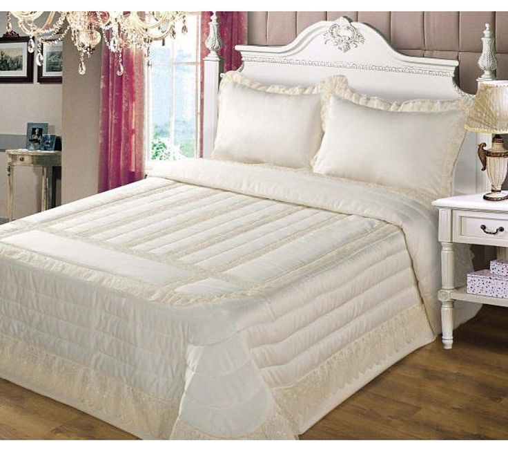 Anita Cream Lace And Satin Bedspread Luxury Bedspreads