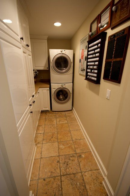 Narrow Laundry Room Storage and Folding Station