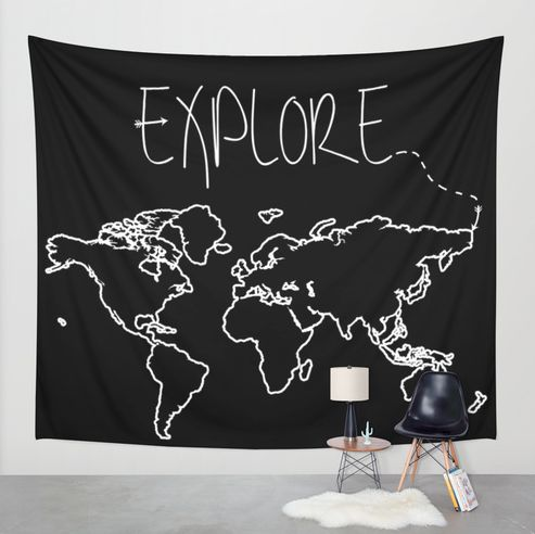 Click photo to buy this Explore Wall Tapestry on Etsy! Also available as a Throw Pillow, Mug, Poster, Print, Tee, Tote Bag, and more!  Adventure. Adventurer. Wander. Wanderlust. Travel. Traveler. Jetsetter. Vagabond. USA. Earth. Gifts for her. Gifts for him. Dorm Room Decor. Arrows. Black and White. Wall Art. Europe. Australia. Canada. North America. South America. Asia. Italy. Black and White. Map. World Map. Map Outline. Home Decor. Decor. Wall Decor.