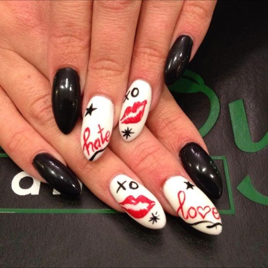 45 best valentines day and romance images on pinterest spas valentine lip print love pointy nail design by envy nail spa prinsesfo Choice Image