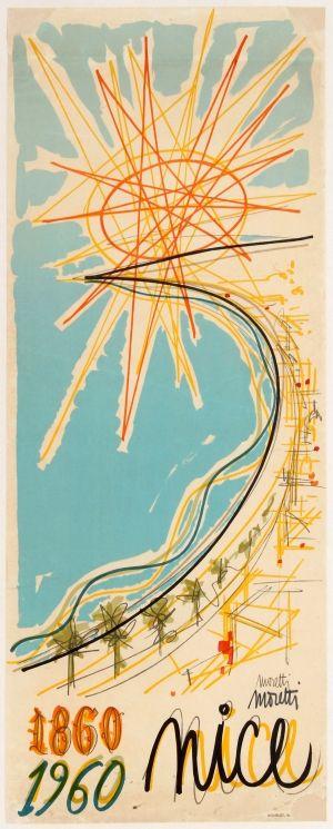 Nice Cote D'Azur Moretti, 1960 - original vintage poster by Raymond Moretti listed on AntikBar.co.uk