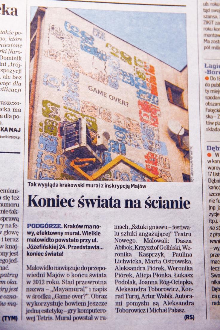 Mayamural Kraków 2012 • Pozdrawiamy naszego patrona! Mural w druku w...
