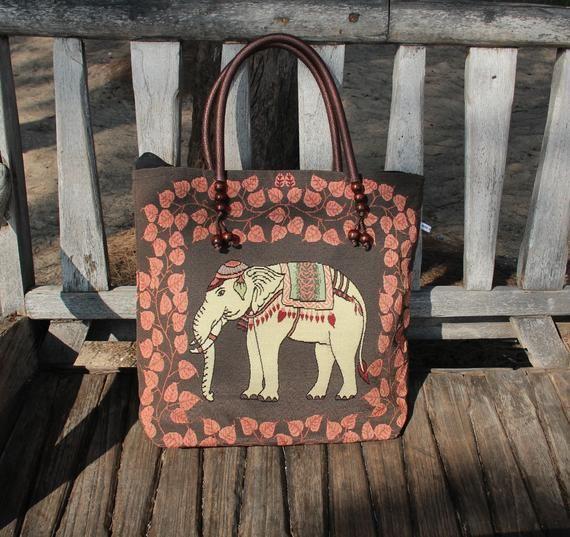 Elephant Fabric Handbag Elephant Tote Bag Summer Fashion Elephant Gift for Women Elephant Fabric Elephant Zippered Tote Bag