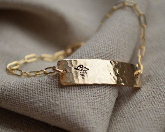 Gold Two Sided Medical ID Bracelet - Customize - Hand Stamped - Epilepsy - Diabetes on Etsy, $50.00