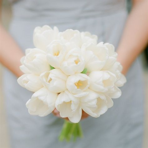 white tulips for bridemaids