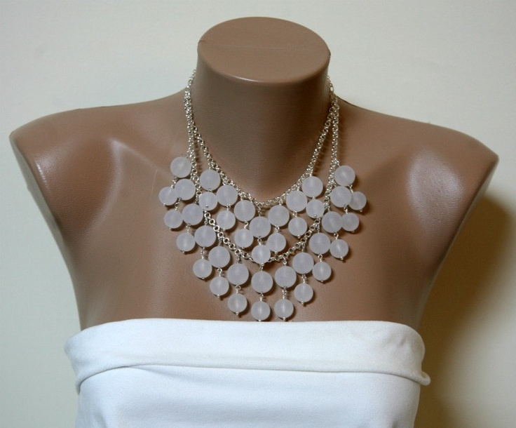 Caroline Inspired Frosted Bead Bib Style Necklace in Silver or Gold with FREE Matching Earrings. $39.00, via Etsy.