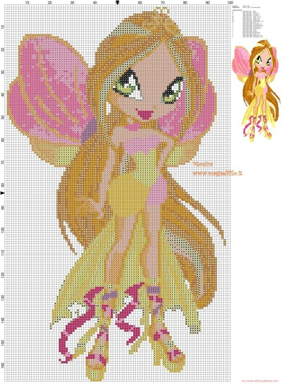 The little Flora (Winx) cross stitch pattern (click to view)