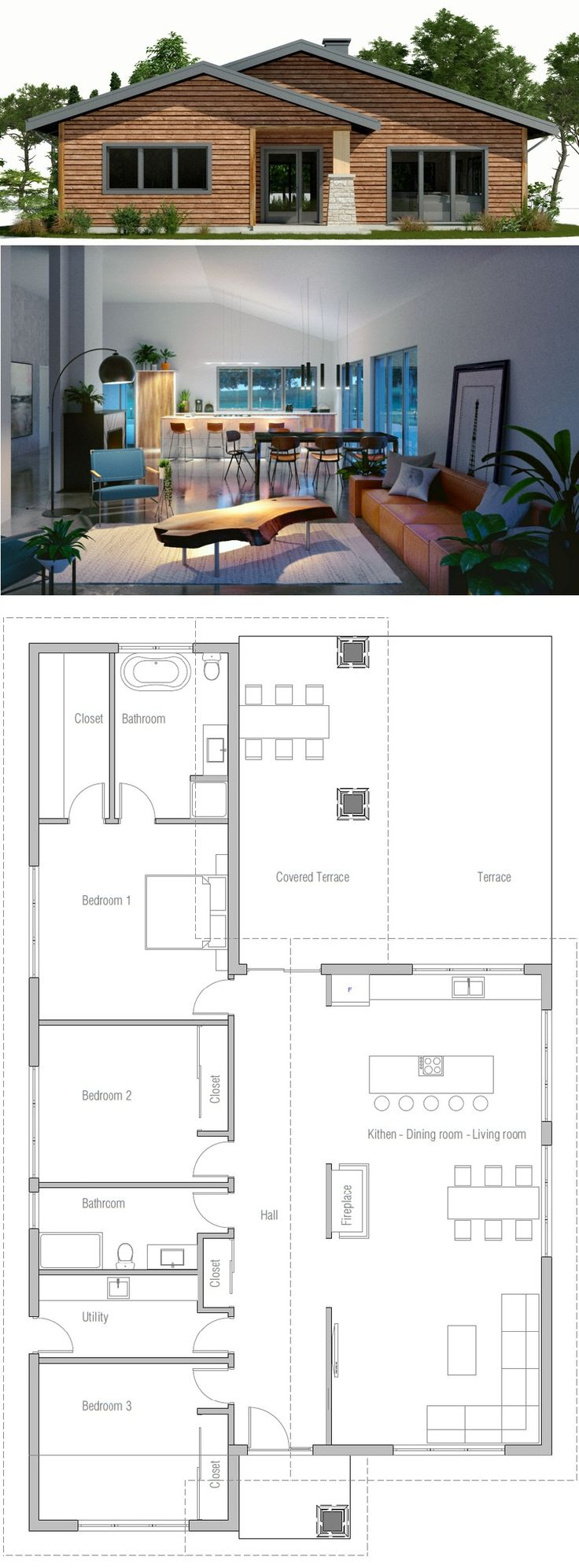 Floor Plan 3 Bdrms Move Kitchen And DR To Front Extend Living Space Into Terrace Area Add Bsmnt Stairs In Utility Side Entry Can Make Narrower Fit