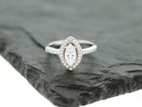 925 Sterling Silver CZ Marquise Halo Ring Wedding Ring