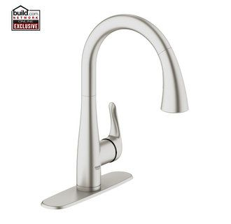 View the Grohe 30 211 Elberon Transitional Pull-Down Kitchen Faucet Single Handle Single Hole with SilkMove Cartridge & Locking Spray Control - Includes Escutcheon Plate at FaucetDirect.com.