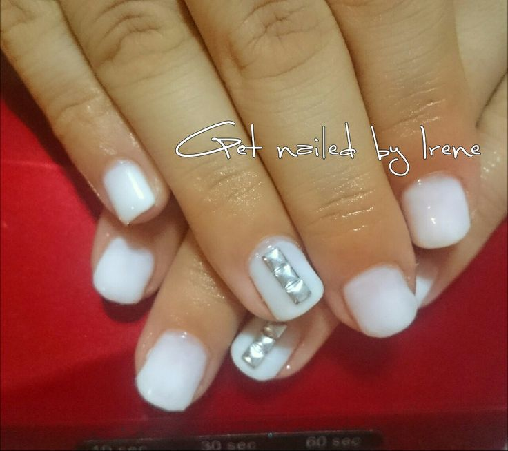 milky gel nails