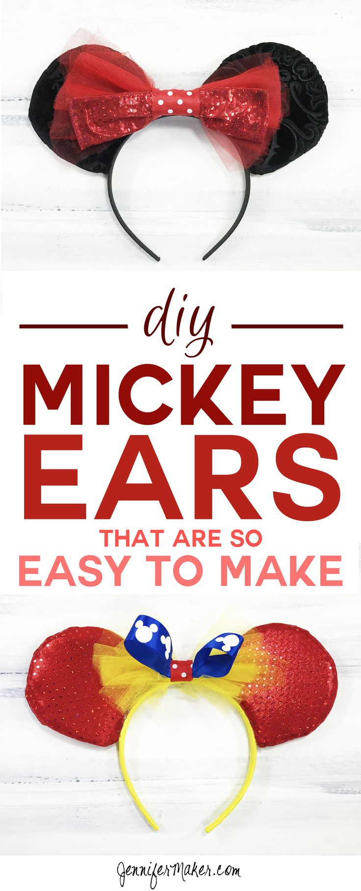 This DIY Mickey Ears tutorial is so easy to make! | Mickey Ears | DIY Disney Ears | How To Make a Mickey Ears Headband via @jenuinemom
