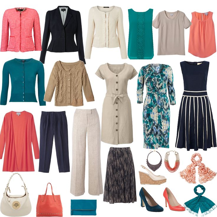 Spring Capsule - capsule wardrobes are tailor-made to fit your lifestyle. Shown is an example of a Spring capsule wardrobe incorporating both business and casual wear. Many of the pieces will work both for smart and more casual events, giving maximum mileage out of your capsule wardrobe.  paid service