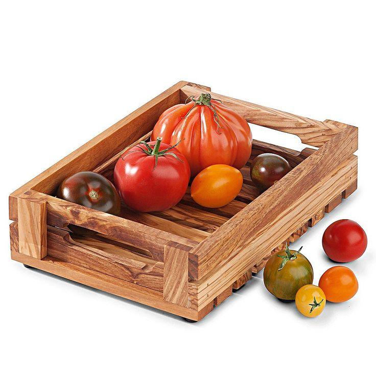 Obst-Gemüsekorb, sicheres Serviertablett aus Olivenholz