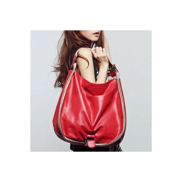 Metal PU Leather Striped Shoulder Bag (37 BAM) ❤ liked on Polyvore featuring bags, handbags, shoulder bags, red handbags, striped purse, striped shoulder bag, metal purse and stripe purse