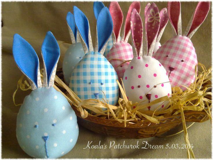 Króliczki wielkanocne różowo niebieskie... krateczka i kropeczki :)