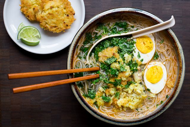 Mohinga (Burmese Rice Noodle Soup) by @thedomesticman  Stacy's PWO Recommendation: skip fried fish cakes and add a different lower-fat protein