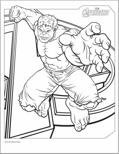 Various pictures of the hulk, good for printing out and coloring in.