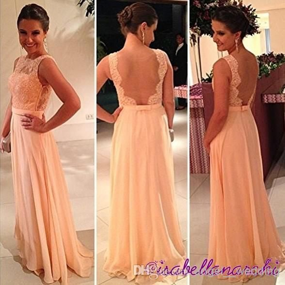 Wholesale Prom Dresses - Buy Luxury Portrait Modest Peach Pink Prom Celebrity Dresses Ruffles Cheap Sexy Long Backless Chiffon With Lace Party Dress 2014 Evening Gowns, $137.0 | DHgate