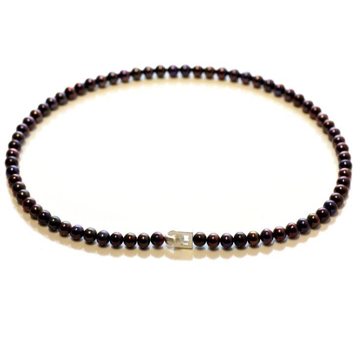 Echte Perlenkette tahiti-schwarz 7-8 mm Zuchtperlen Kette 46 cm 2016 Silber 925