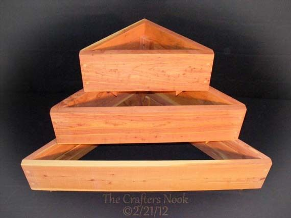 Triangular tiered wood planter boxes stackable cedar for Wooden flower bed ideas