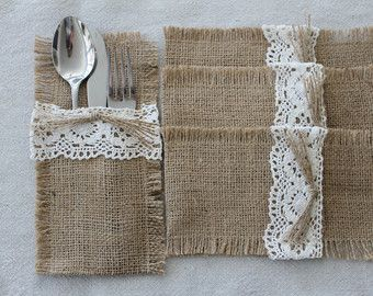 Reserved for Sara Burlap Silverware Holders Flowers by CrafTeaCafe