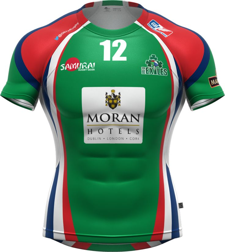 The Irish Exiles 7s team rugby shirt. Part of their Samurai rugby kit for the 2014 GB7s series.  www.samurai-sports.com