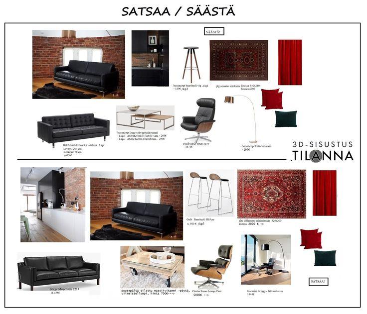 Kellarin sisustussuunnitelma: Terca-tiili, tammipaneeli sekä lämmin valkoinen maali seinässä, lattialla tammiparketti/vinyylikorkki. Kiintokalusteet mattamustat vetimettömät. Tilaan mustat nahkasohvat, nojatuoli, itämainen matto, punaiset samettiverhot, samettisia tyynyjä jnejne..   Sama tyyli, eri hinta! satsaa vai säästä?