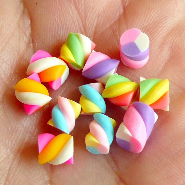 Miniature Marshmallow Mix (Colorful) (12pcs) Kawaii Fake Candy Polymer Clay Fimo Miniature Sweets Dollhouse Candy Cabochon CMX004. $1.95, via Etsy.
