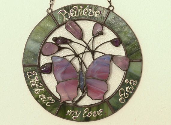 Amethysts decorated stained glass butterfly.  Personalized buttefly sunctcher. Amethyst butterfly. Mothers day gift