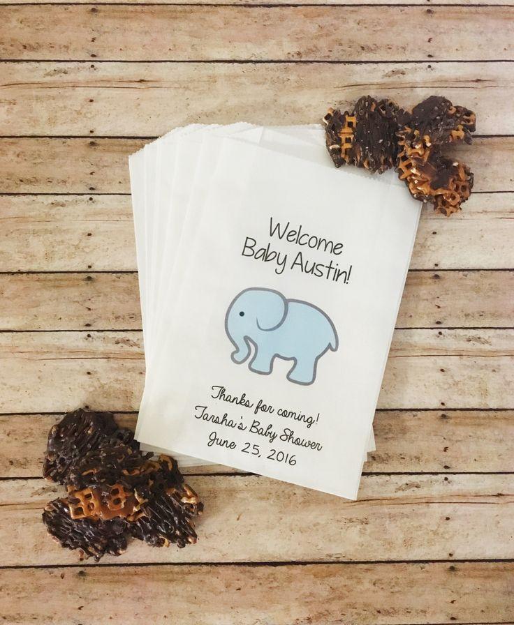 Elephant Baby Shower Treat Bags, Baby Elephant Shower, Team Blue, Baby Shower…
