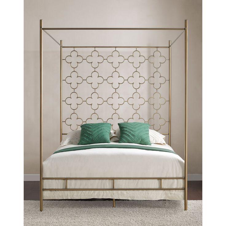 retro glitz quatrefoil queen canopy bed shopping the best deals on