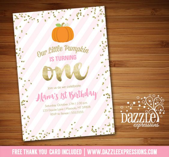 Printable Pink and Gold Pumpkin Birthday Invitation | Gold Glitter Confetti | Fall Festival Party | October Birthday | Digital File | Girl Birthday Party Idea | FREE thank you card | Party Package Available |  Banner | Cupcake Toppers | Favor Tag | Food and Drink Labels | Signs |  Candy Bar Wrapper | www.dazzleexpressions.com