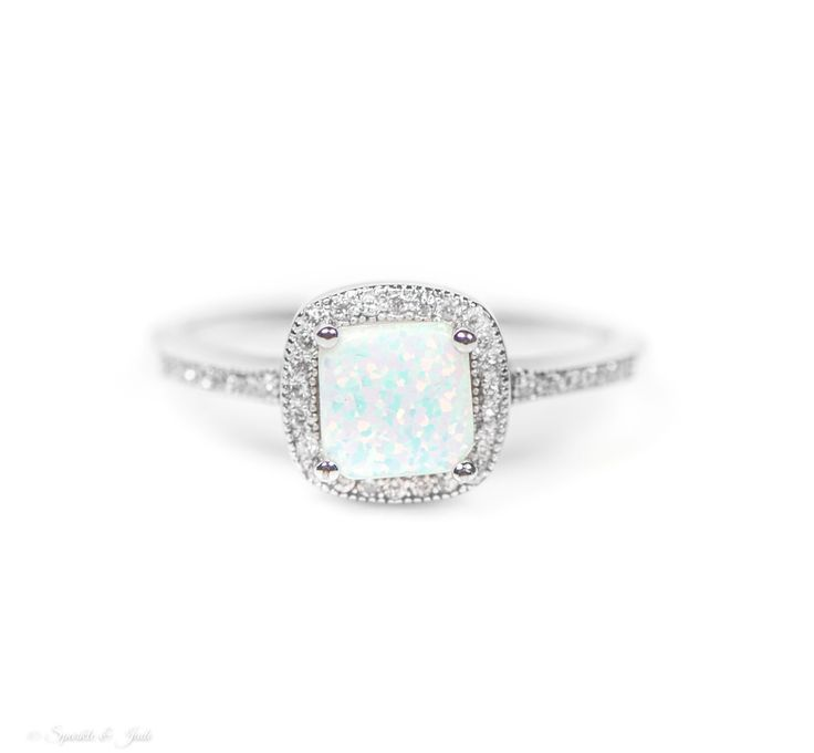 Sterling Silver Cushion Cut White Opal Halo Ring , - Sparkle & Jade - 1