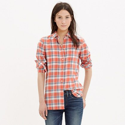 Madewell - Ex-Boyfriend Shirt in Orange Plaid